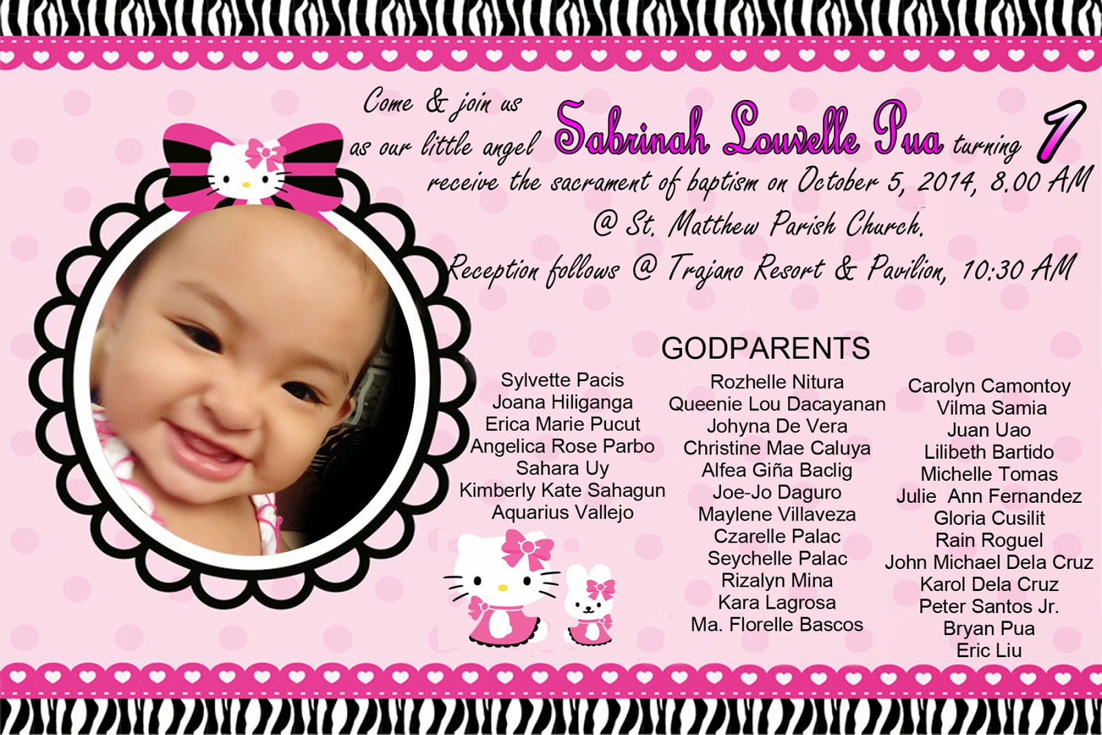 Hello Kitty Invitation For Christening And 1st Birthday