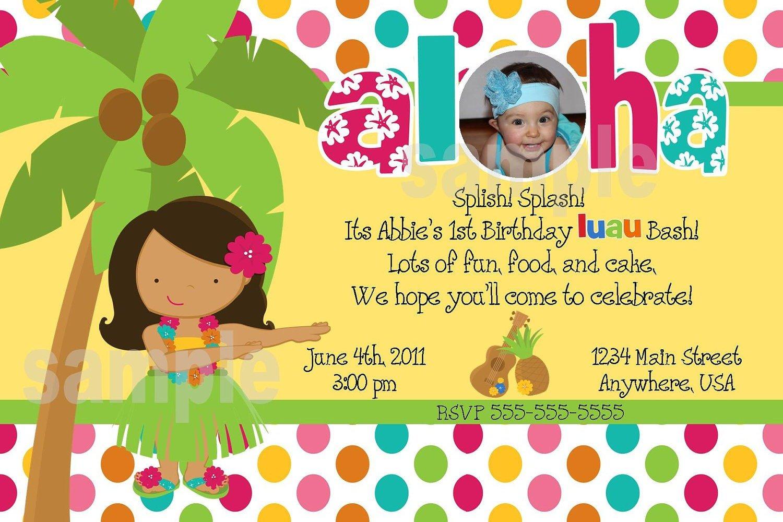 Luau Birthday Party Invitations Luau Birthday Party Invitations