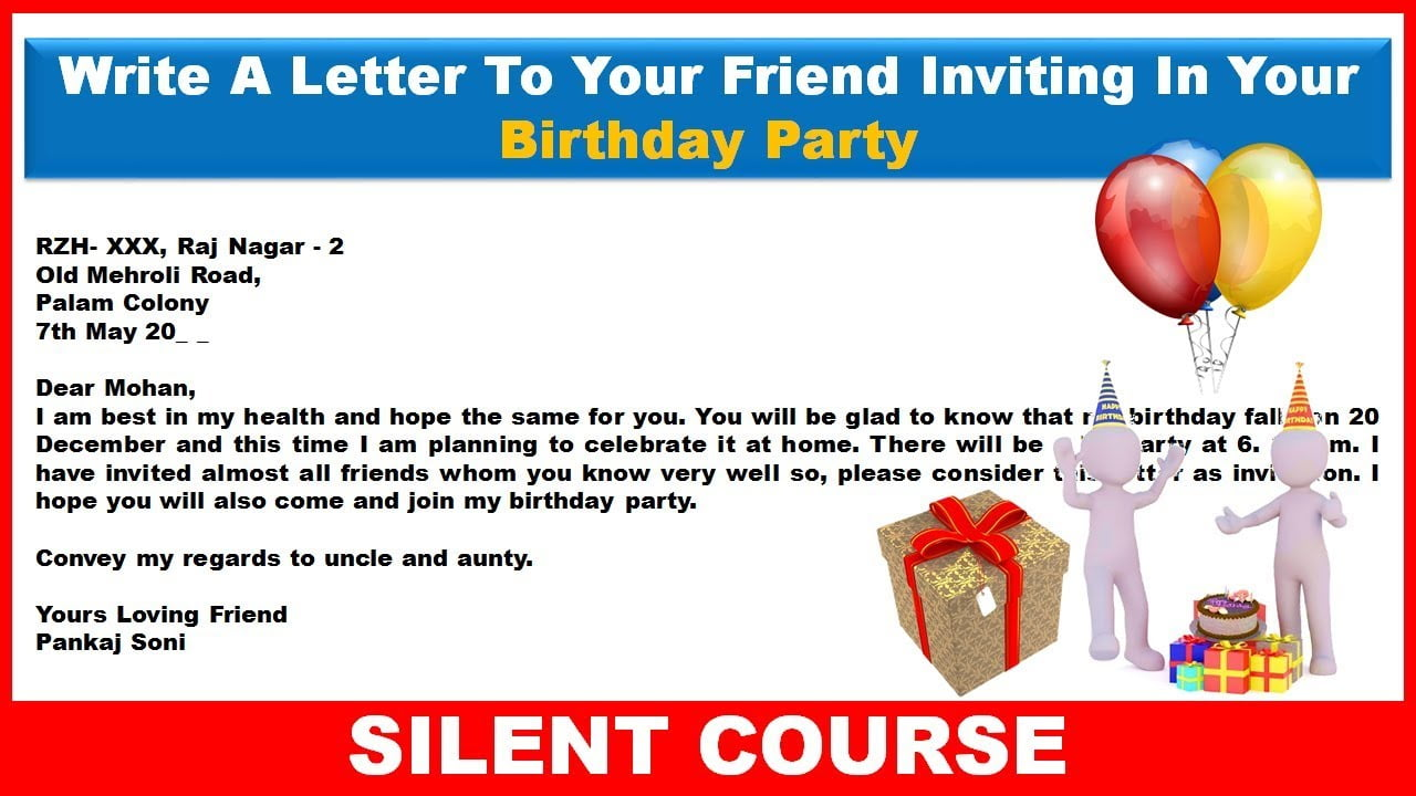 Informal Letter Example Inviting Friend For Birthday Party