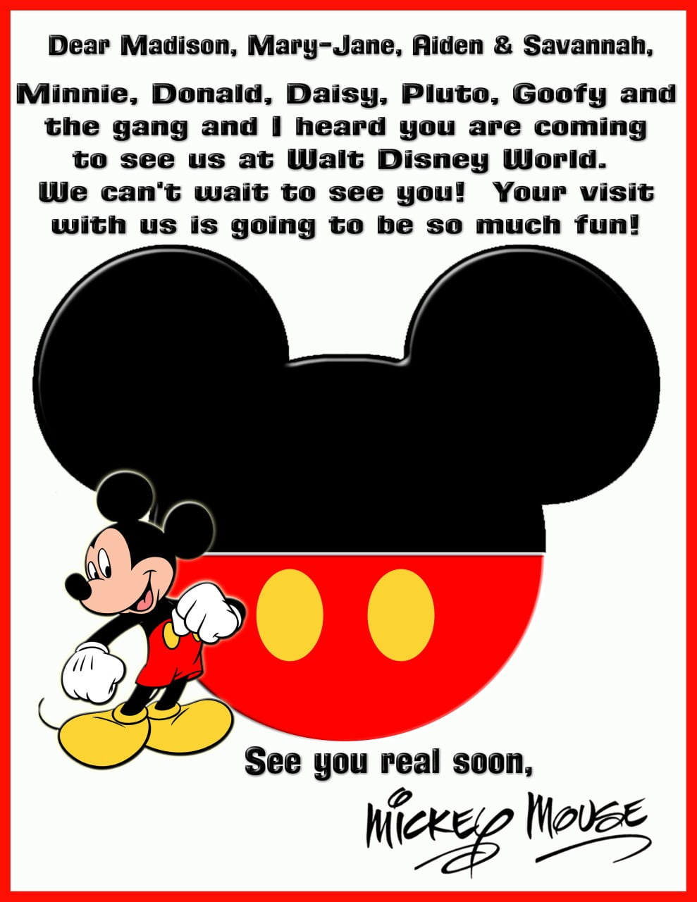 Looking For A Letter To My Kids From Mickey