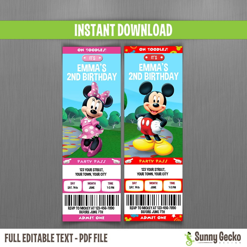 Minnie Mouse & Minnie (mickey Mouse Clubhouse) Birthday Ticket