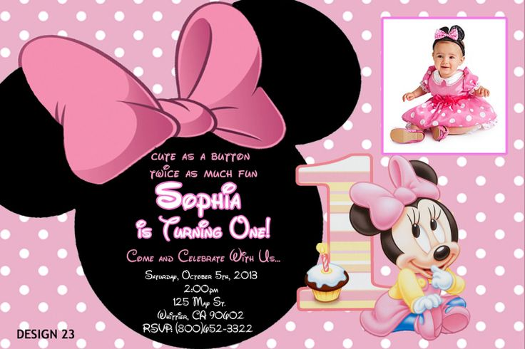 Minnie Cute Baby Minnie Mouse Birthday Invitations