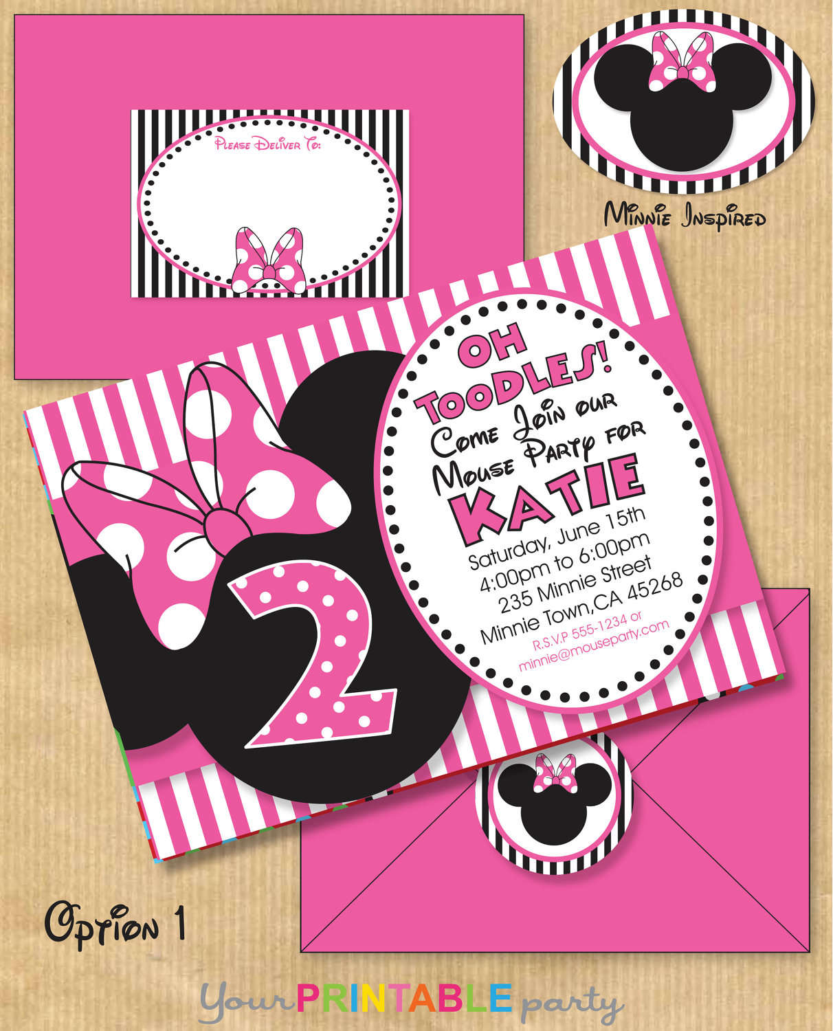 Party Invitation Template Minnie Mouse Party Invitations Custom