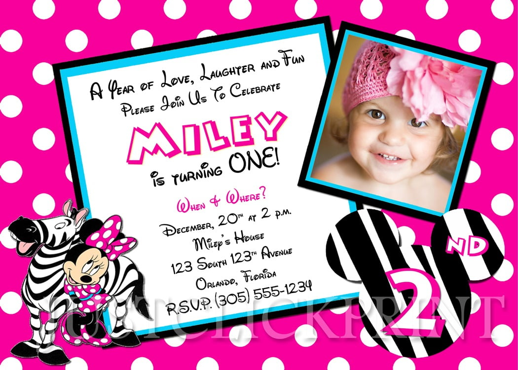 Zebra Minnie Mouse Birthday Photo Invitation Printable · Just