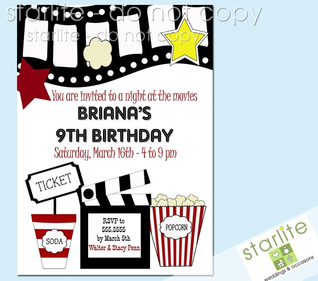Movie Birthday Party Invitations Ideal Movie Party Invitations