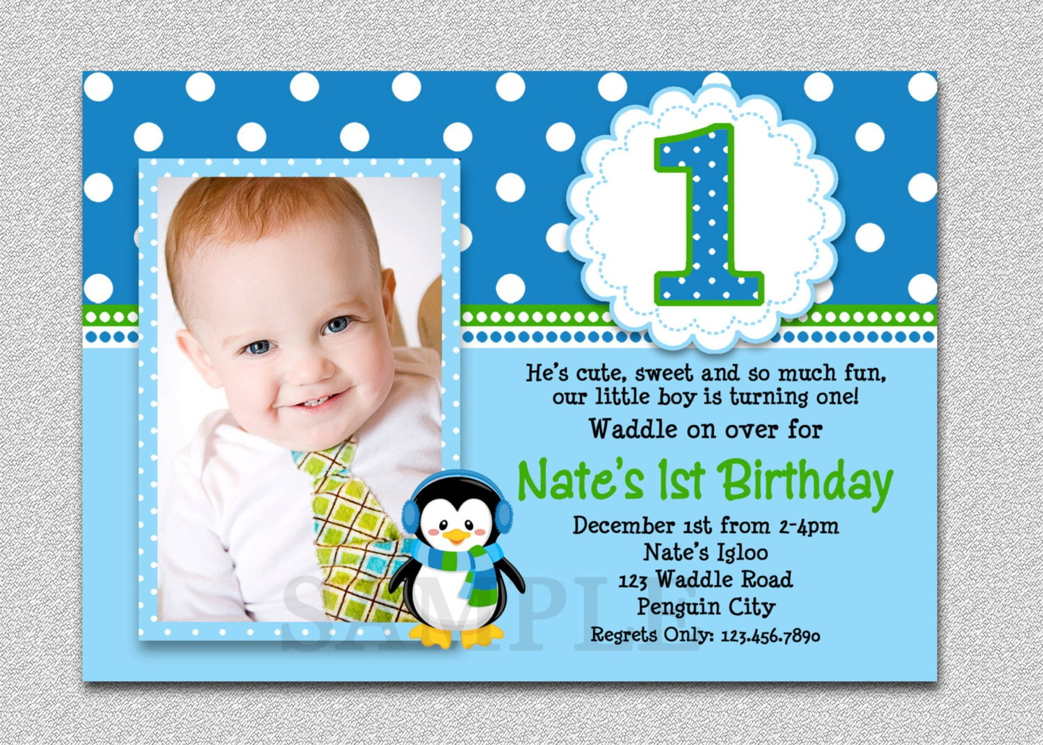 Penguin Birthday Invitation Penguin Unique 1st Bday Party