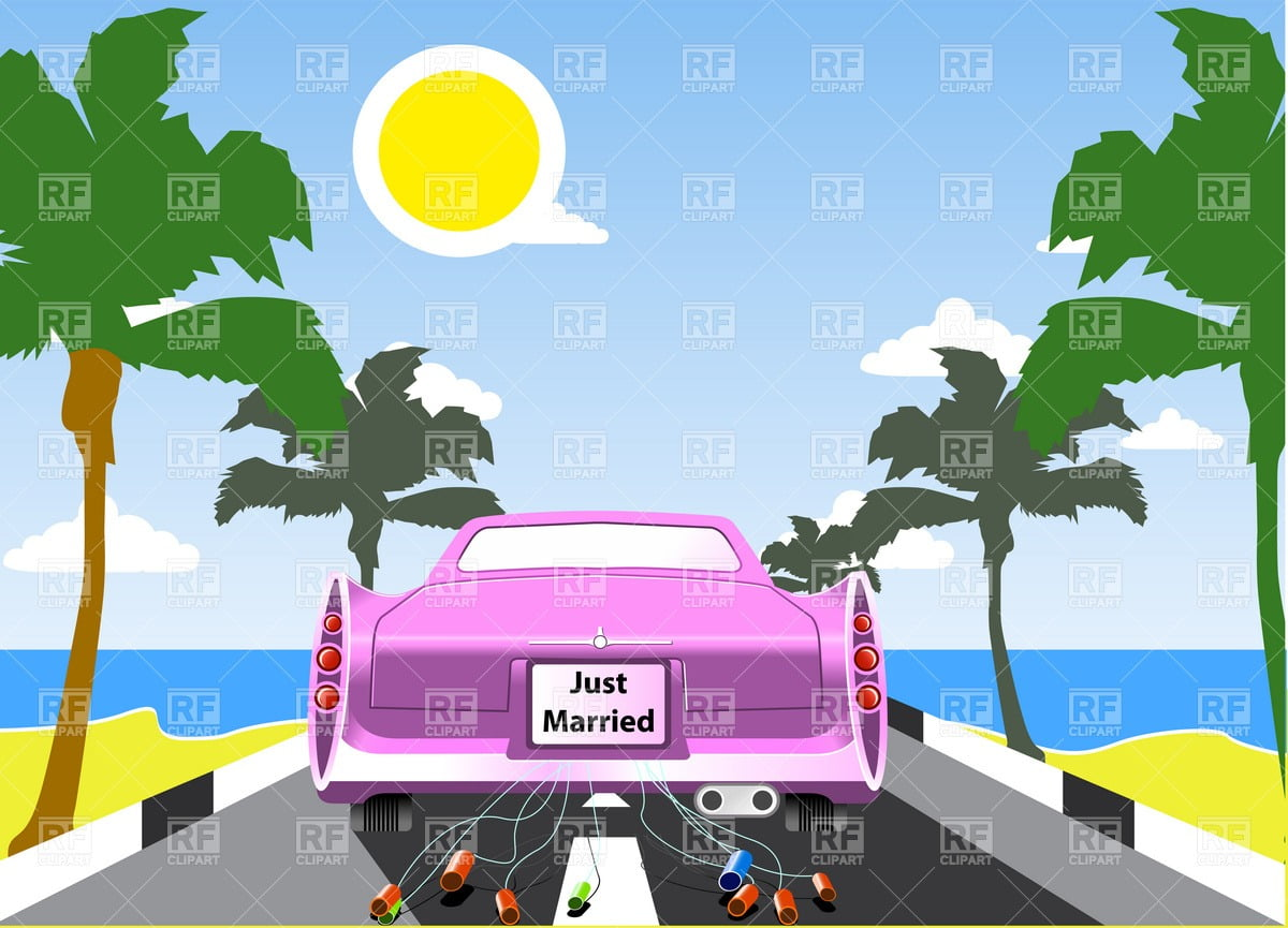 Pink Wedding Limousine, Palms And Sea Beach Vector Image – Vector