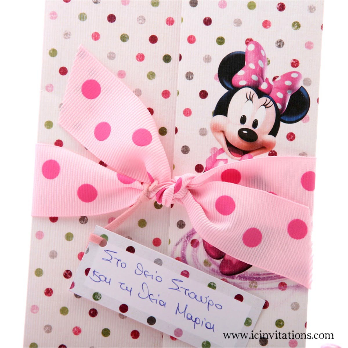 Baptism Invitation Baby Girl Minnie Mouse