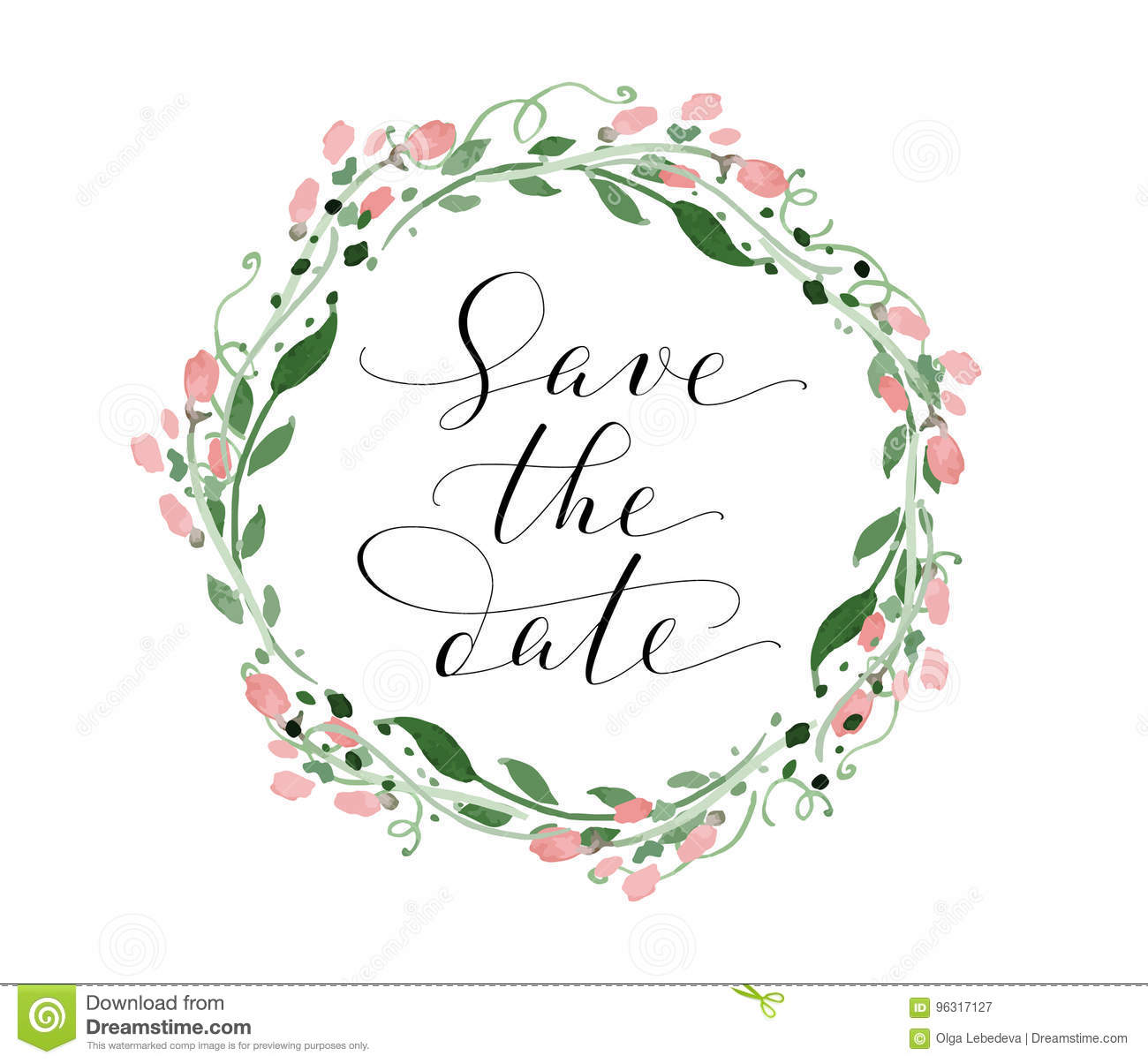 Save The Date Card With Watercolor Floral Wreath, Wedding