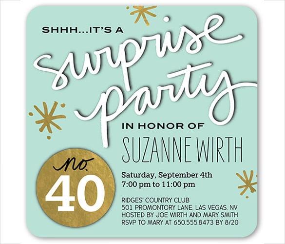Surprise Party Invites Templates