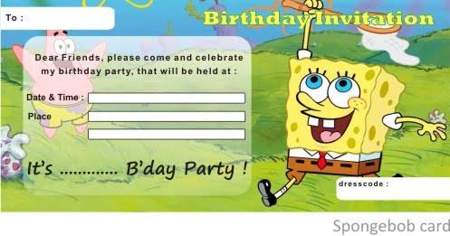 Spongebob Birthday Invitation Printable