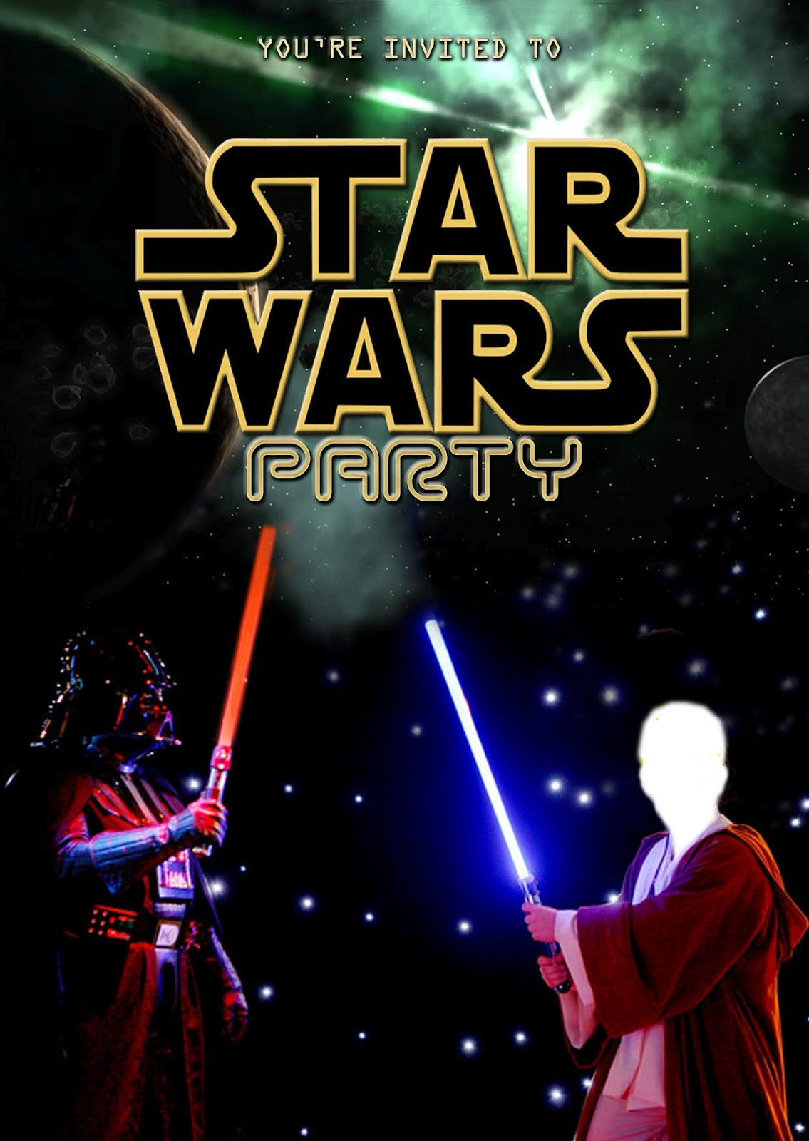 Free Kids Party Invitations  Star Wars Party Invitation (self