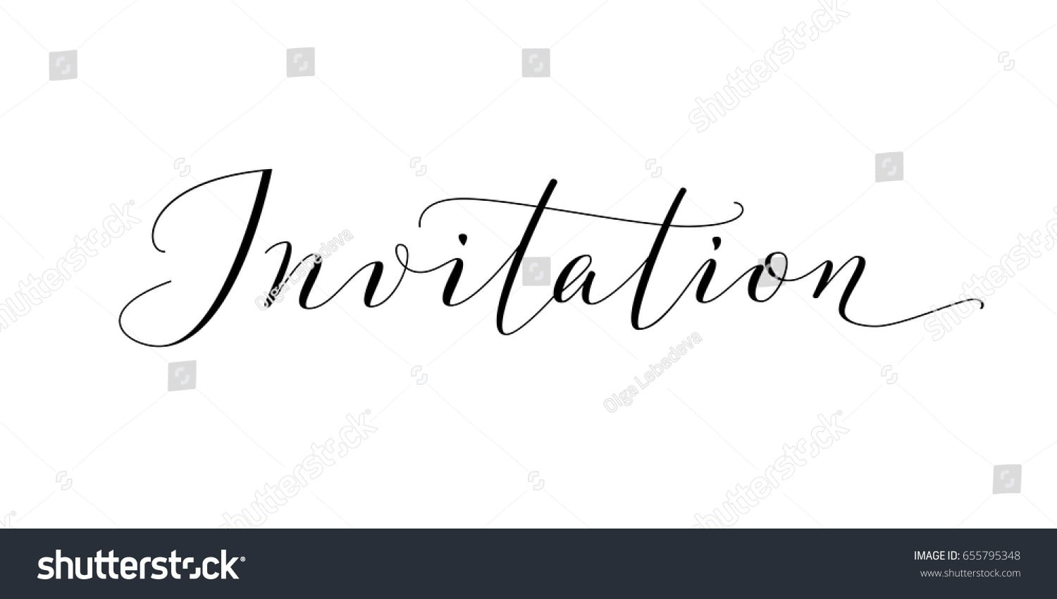 Invitation Word Hand Written Custom Calligraphy Stock Vector