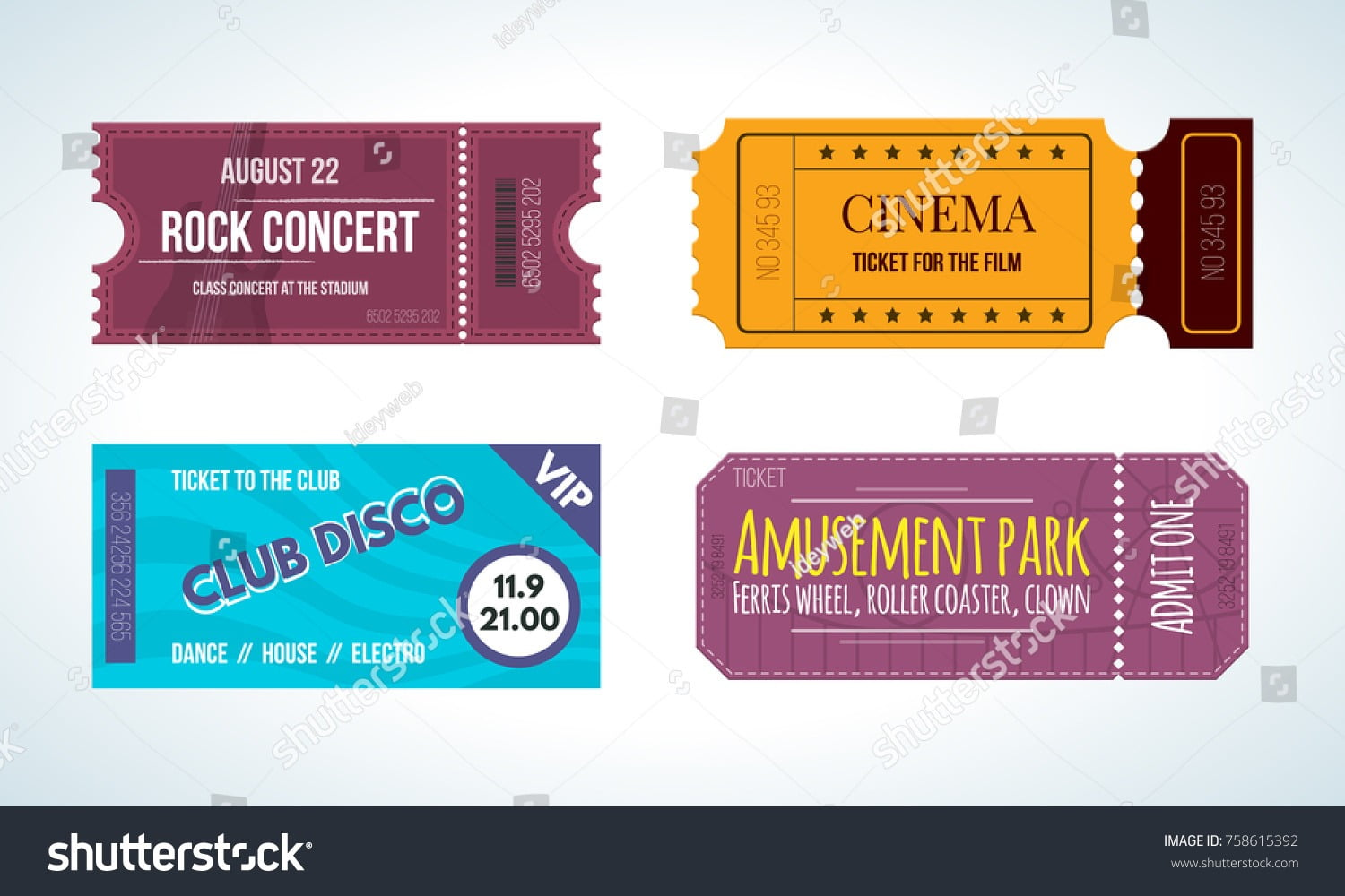 Set Colorful Tickets On Various Events Stock Vector (royalty Free
