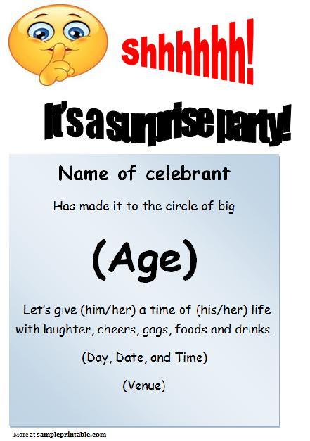 Surprise Birthday Fabulous Surprise Birthday Invitations Templates