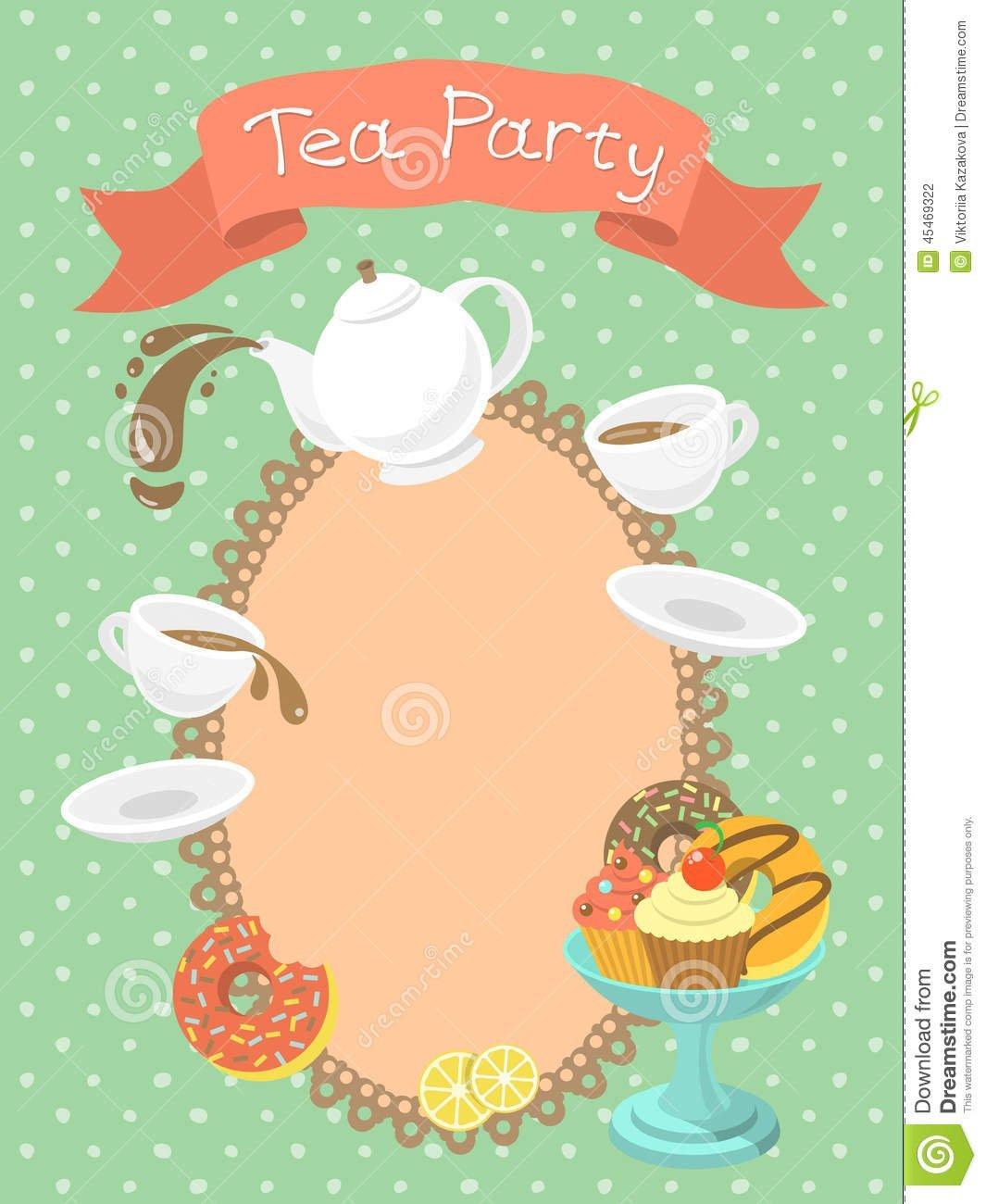 Tea Party Invitation Stock Vector  Illustration Of Blank
