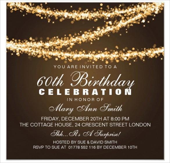 Free Printable Th Birthday Vintage 60th Birthday Invitation
