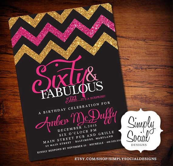 Surprise Luxury Surprise 60 Birthday Party Invitations