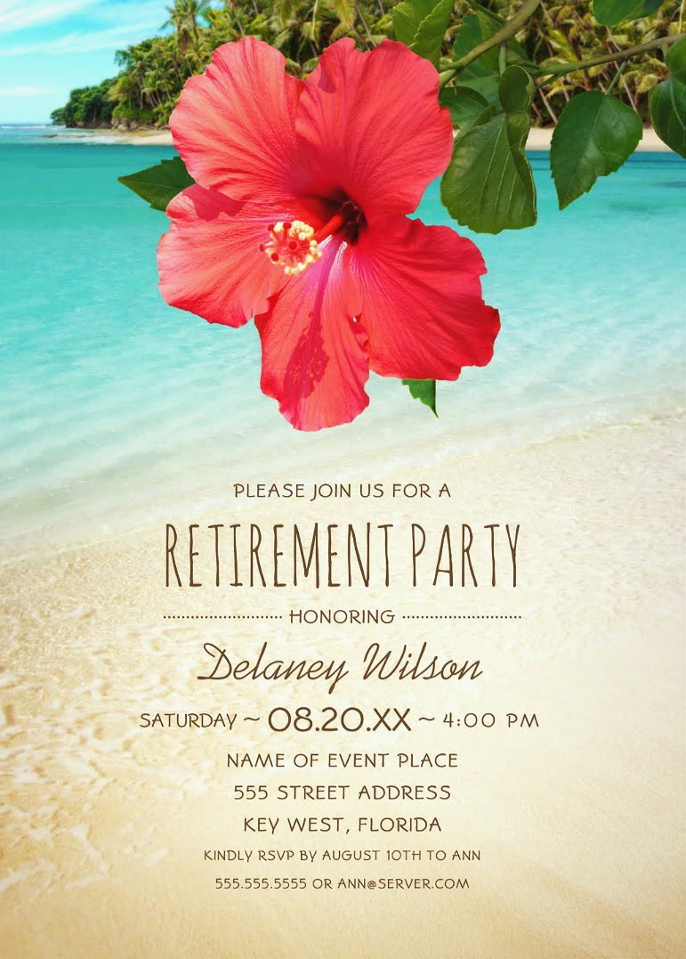 Tropical Beach Hawaiian Retirement Party Invitations Hibiscus Palm