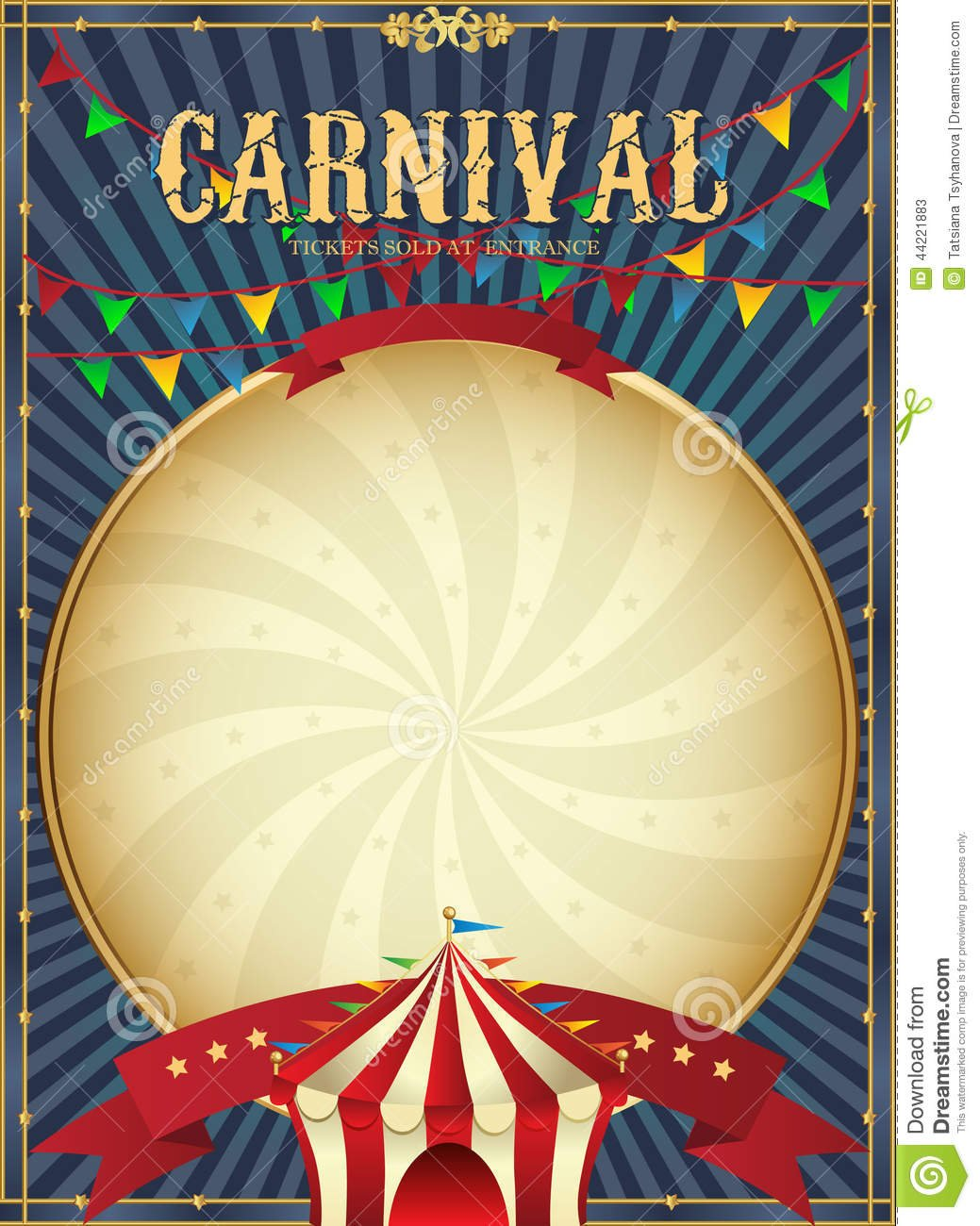 Vintage Carnival  Circus Poster Template  Vector Illustration