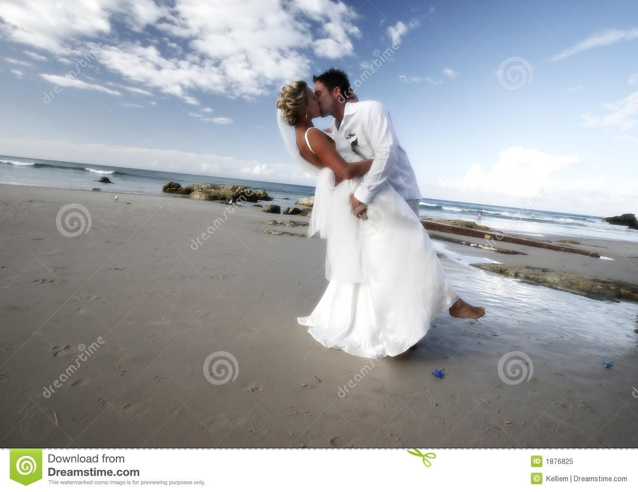 Wedding Kiss Stock Image  Image Of Kiss, Love, Beach, Adorable