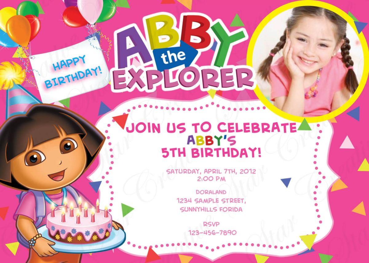 Cool Free 1st Dora Birthday Invitations Wording