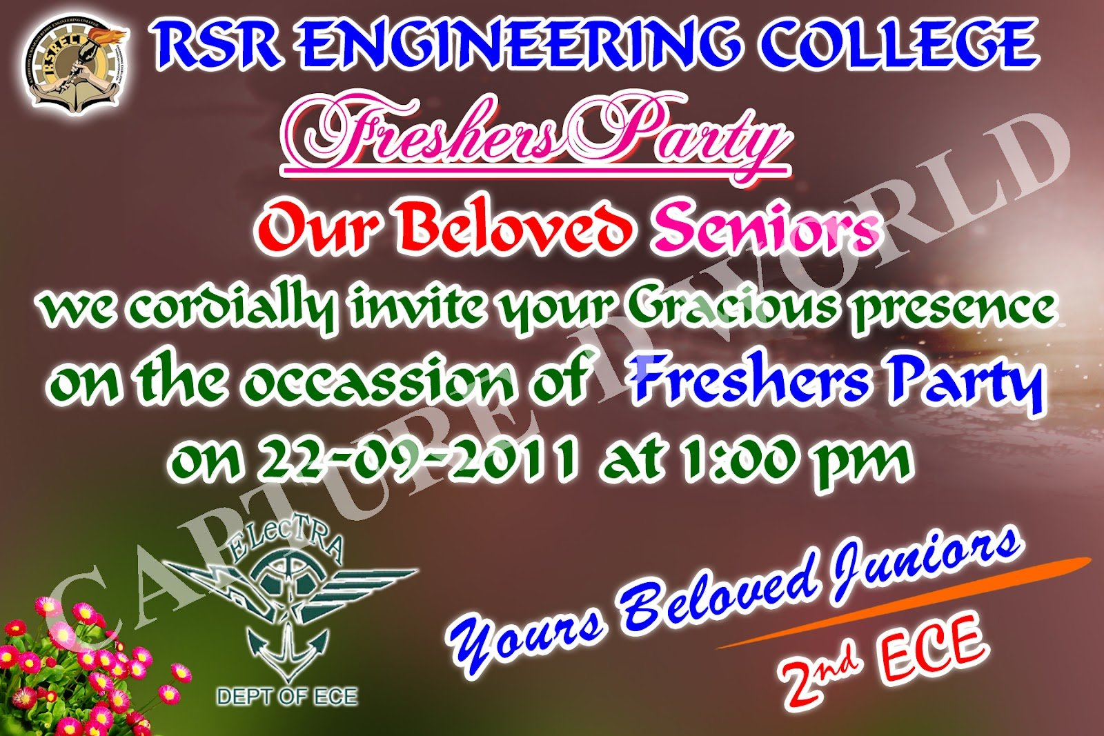 Capture D World  College Freshers Day Invitation Card Models