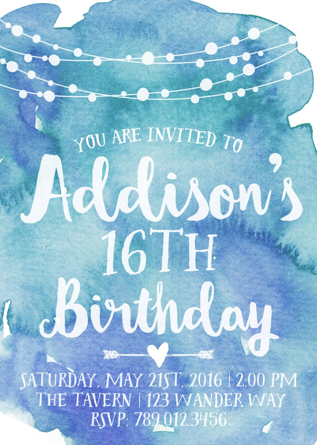 16th Birthday Party Invitation Printable, Watercolor Invite, Boho