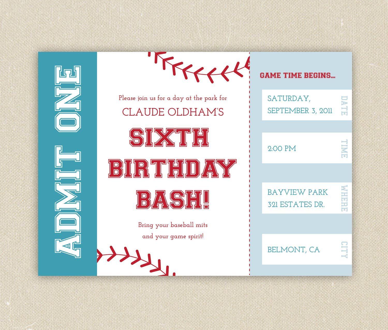 Free Printable Baseball Birthday Party Invitations