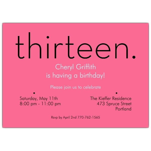 13th Birthday Party Invitations 13th Birthday Party Invitations