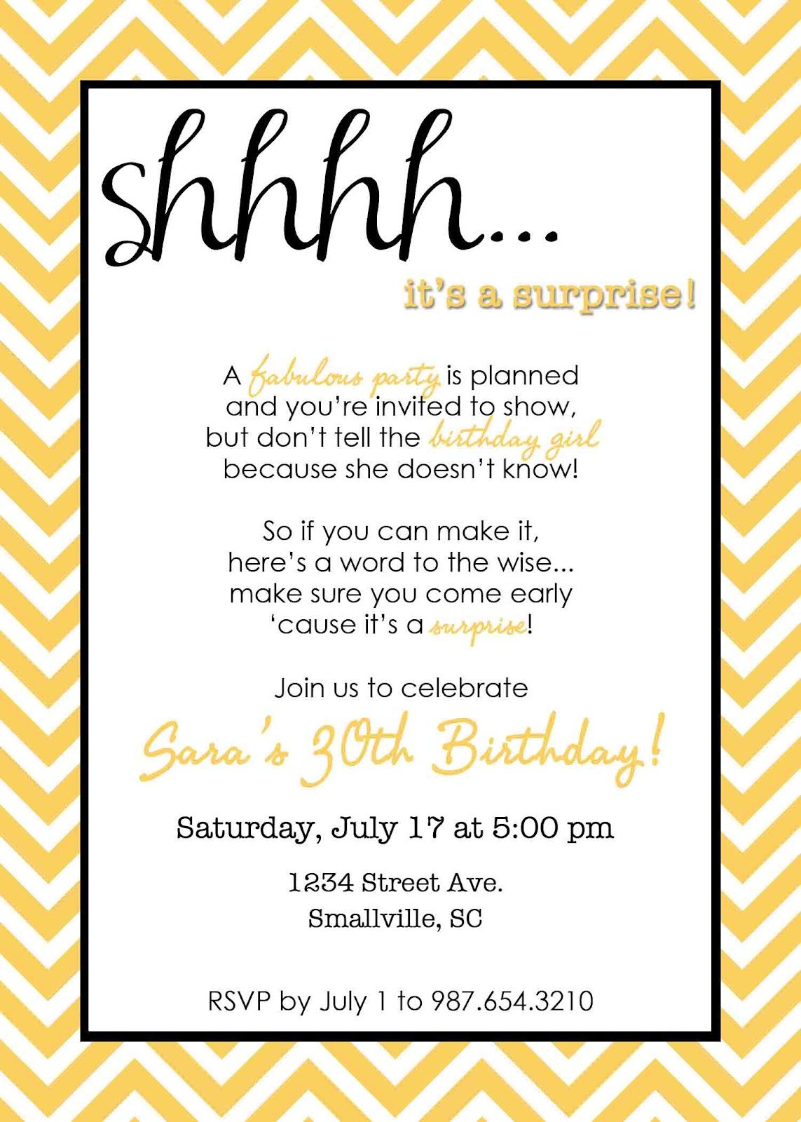 Wording For Surprise Birthday Party Invitations