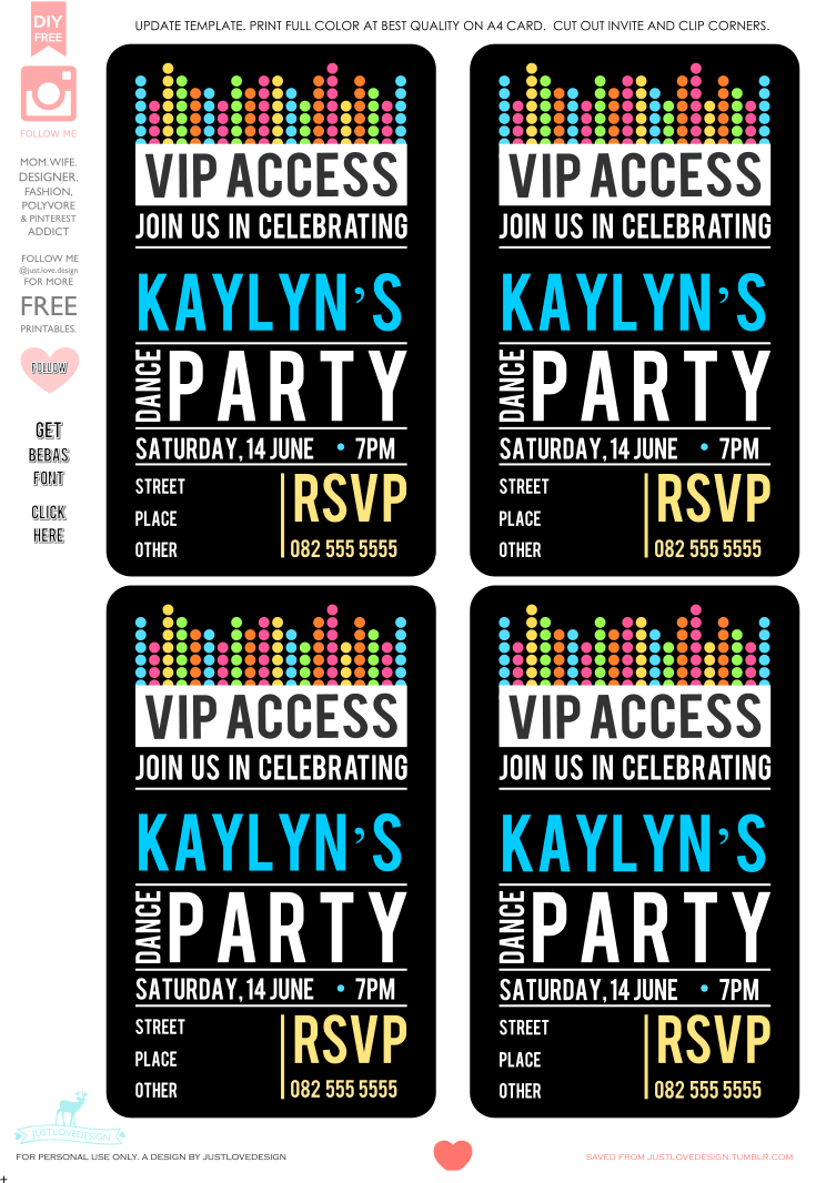 Diy Free Vip Party Invite Template Hi All, Thank You All For Your