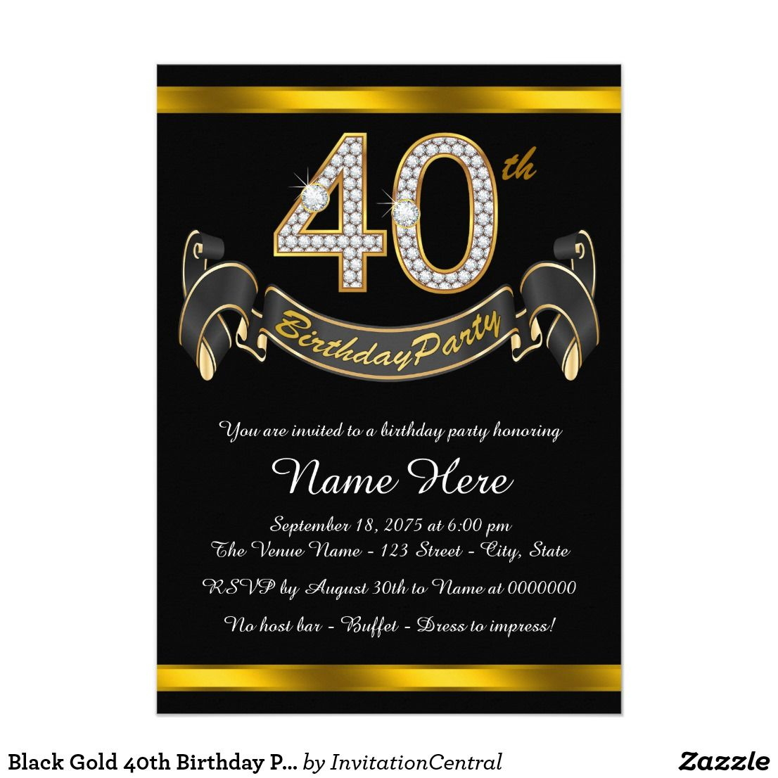 Black Gold 40th Birthday Party Invitation In 2018