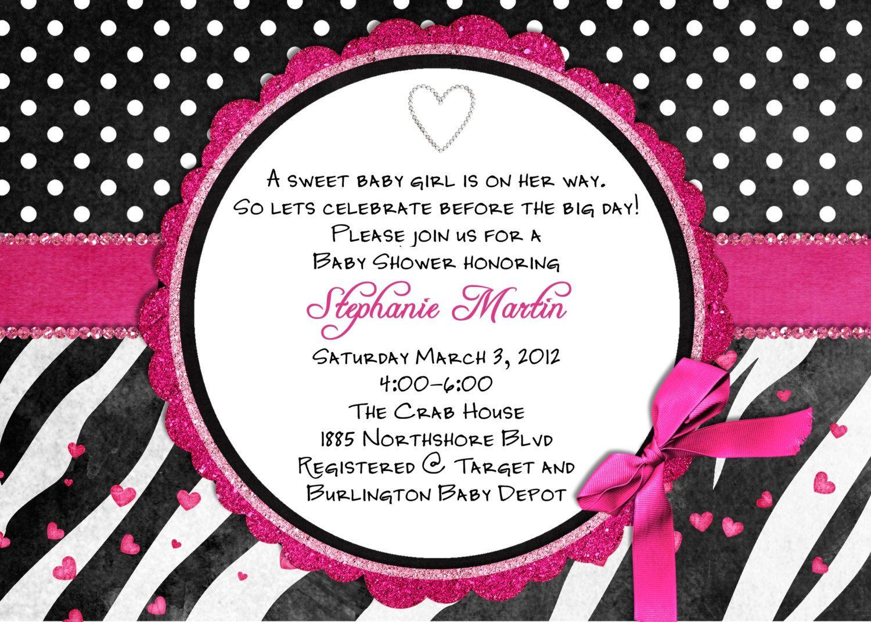 Free Printable Hot Pink Zebra Invitations