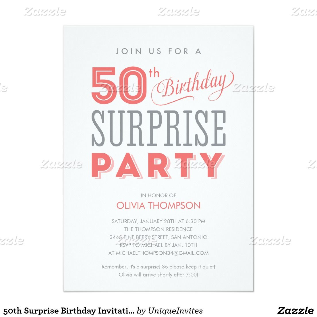 Get Free Template Surprise 50th Birthday Party Invitations