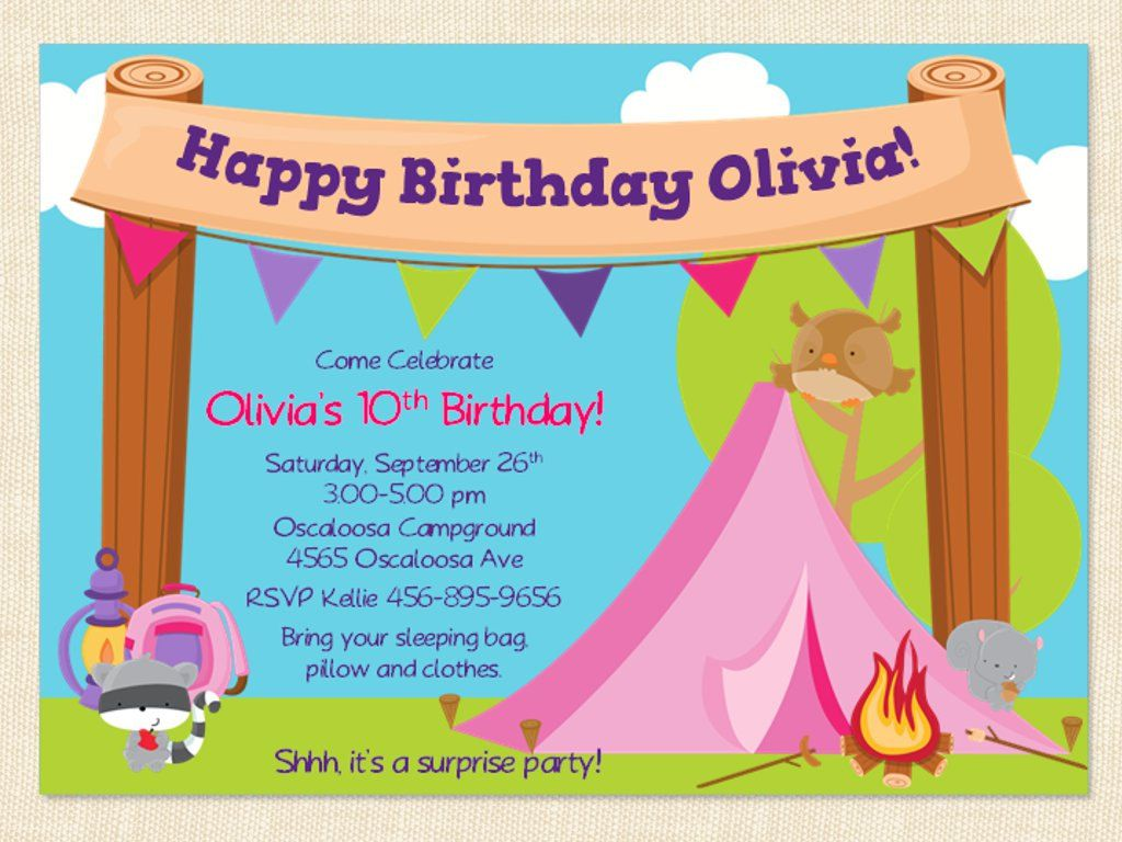 Free Printable Camping Birthday Invitation Template
