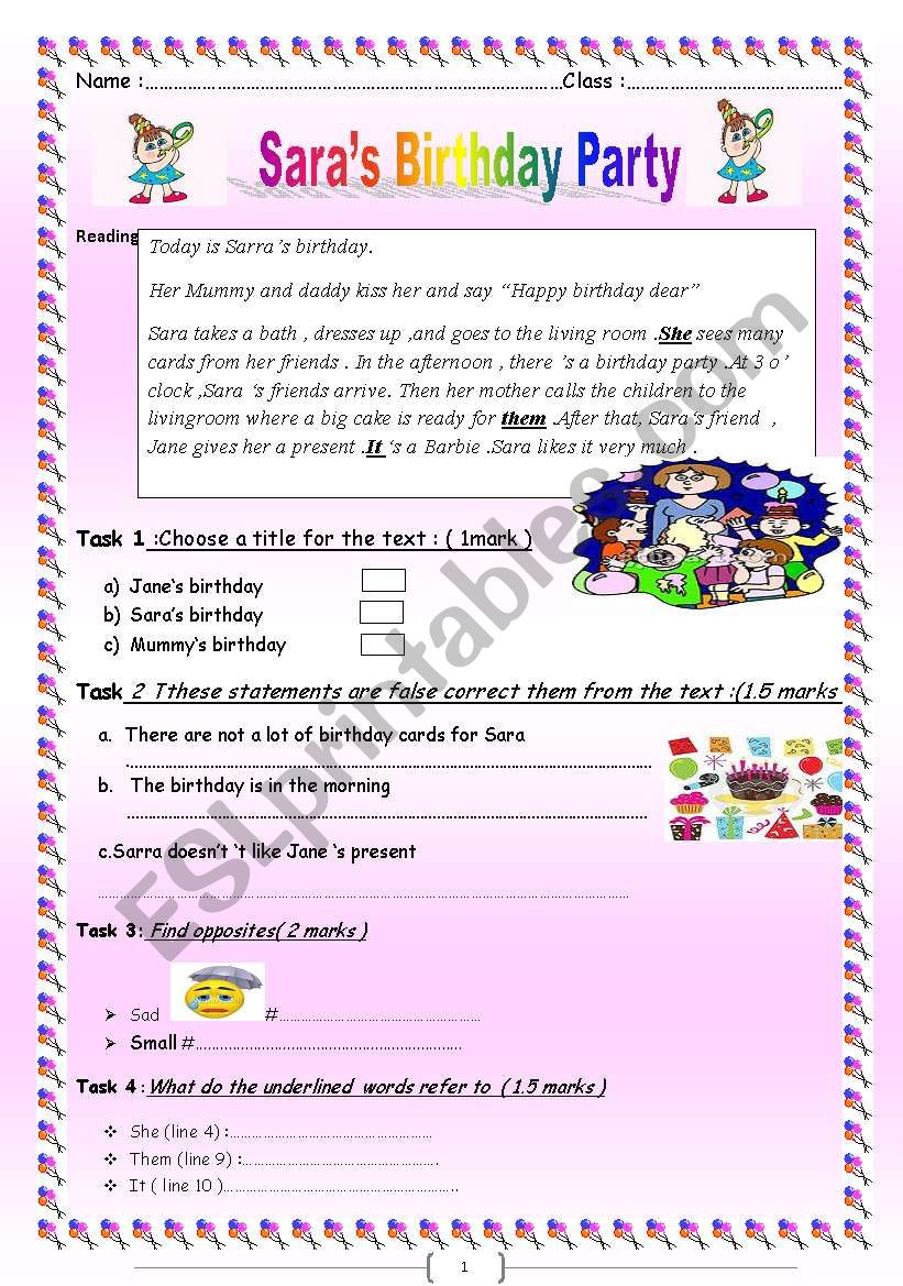 Sara´s Birthday Party ;a Reading With Comprehension Questions