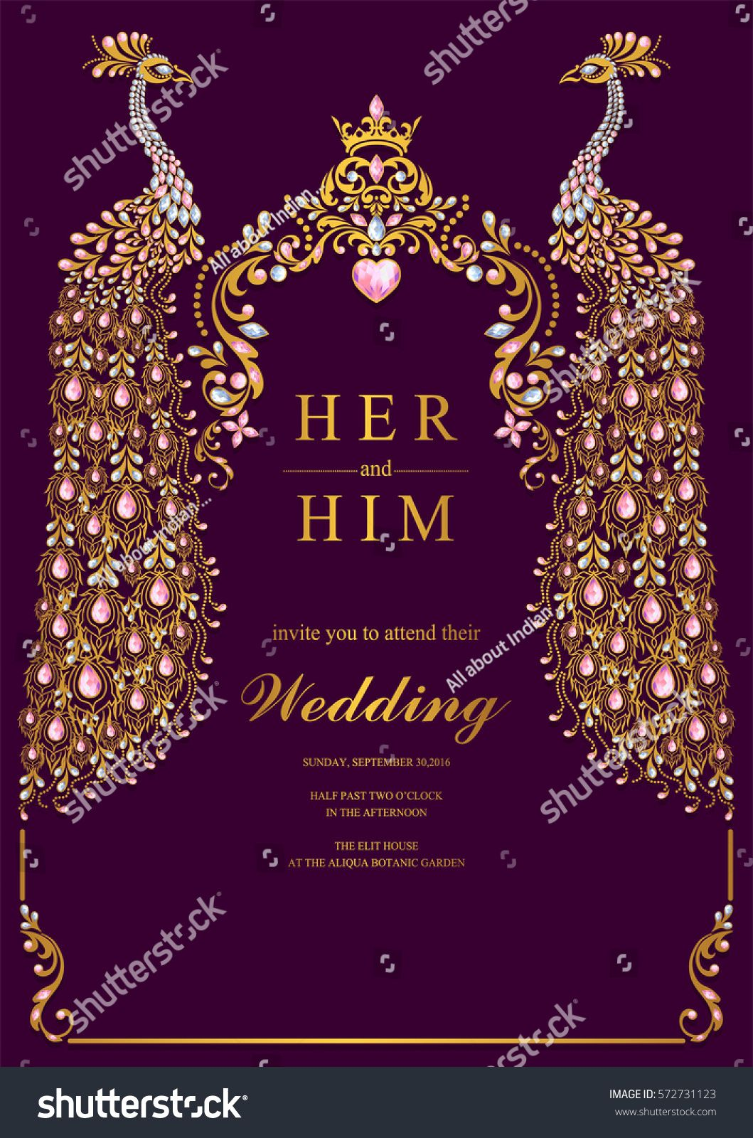 Indian Wedding Invitation Card Templates With Gold Peacock