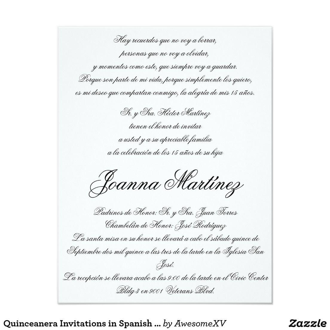 Quinceanera Invitations In Spanish 4 25 X 5 5 In 2018
