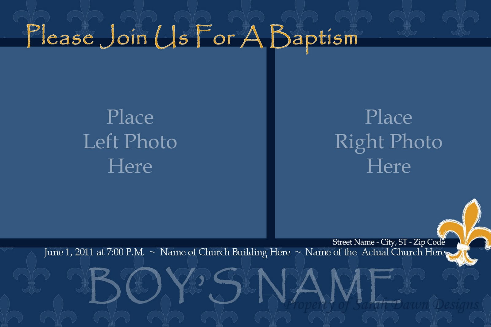 Sarah Dawn Designs  Baptism Invitation Template