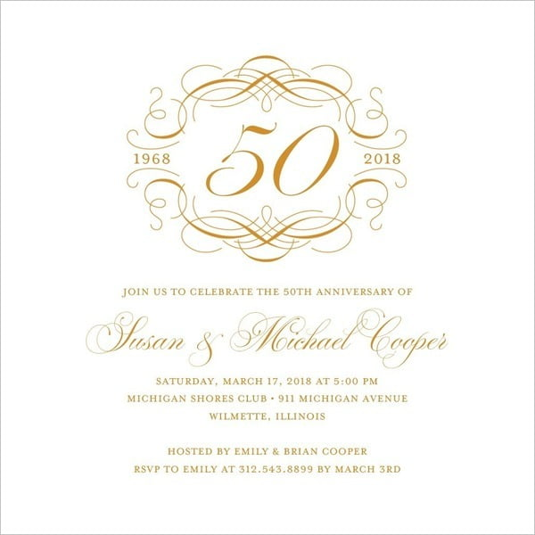 50th Anniversary Invitations Templates Vintage With 50th