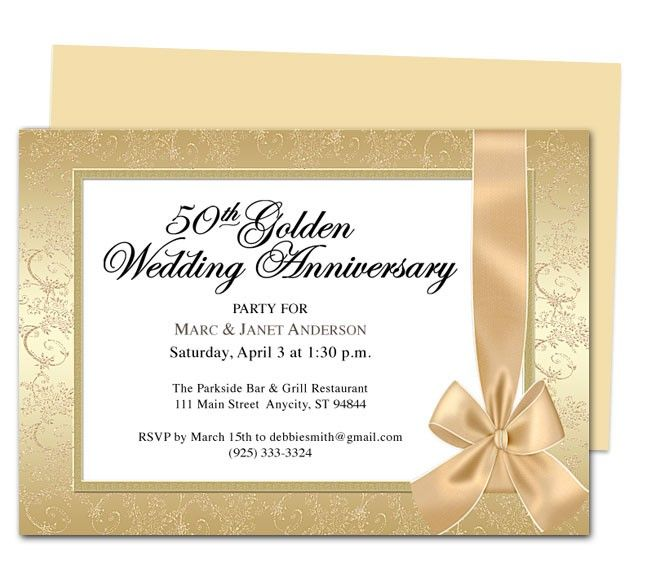 Invitation  50th Wedding Anniversary Invitations Templates