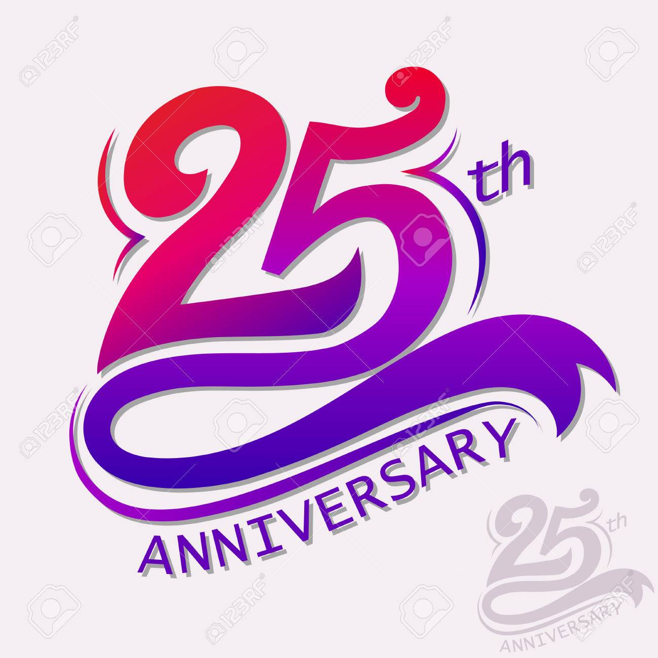25th Years Anniversary Design, Template Celebration Sign  Royalty