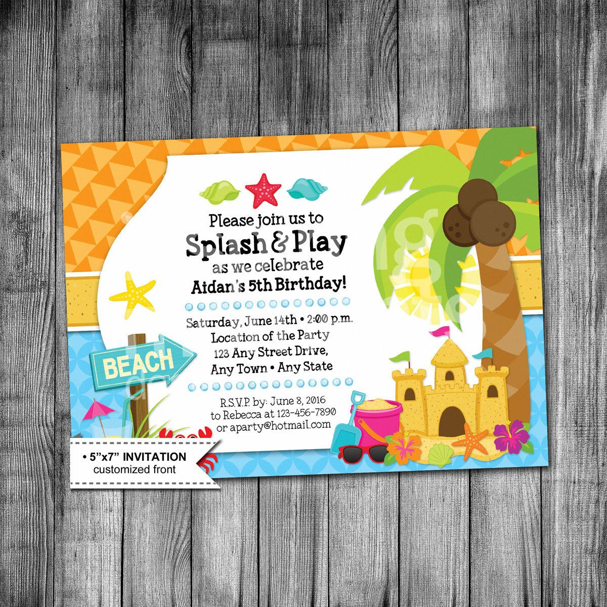 Kids Beach Birthday Invitation