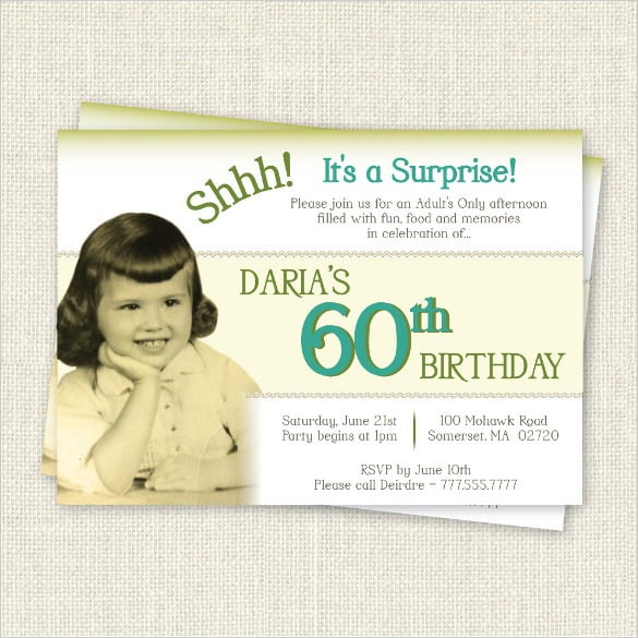 60th Birthday Party Invitations Free Templates Best With 60th