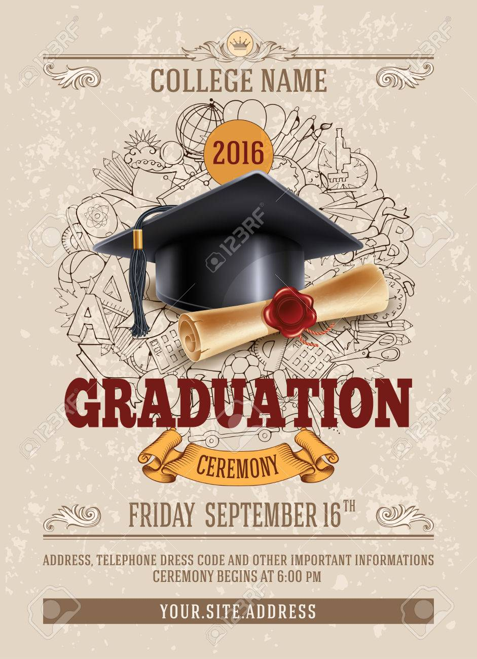 Vector Template Of Announcement Or Invitation To Graduation
