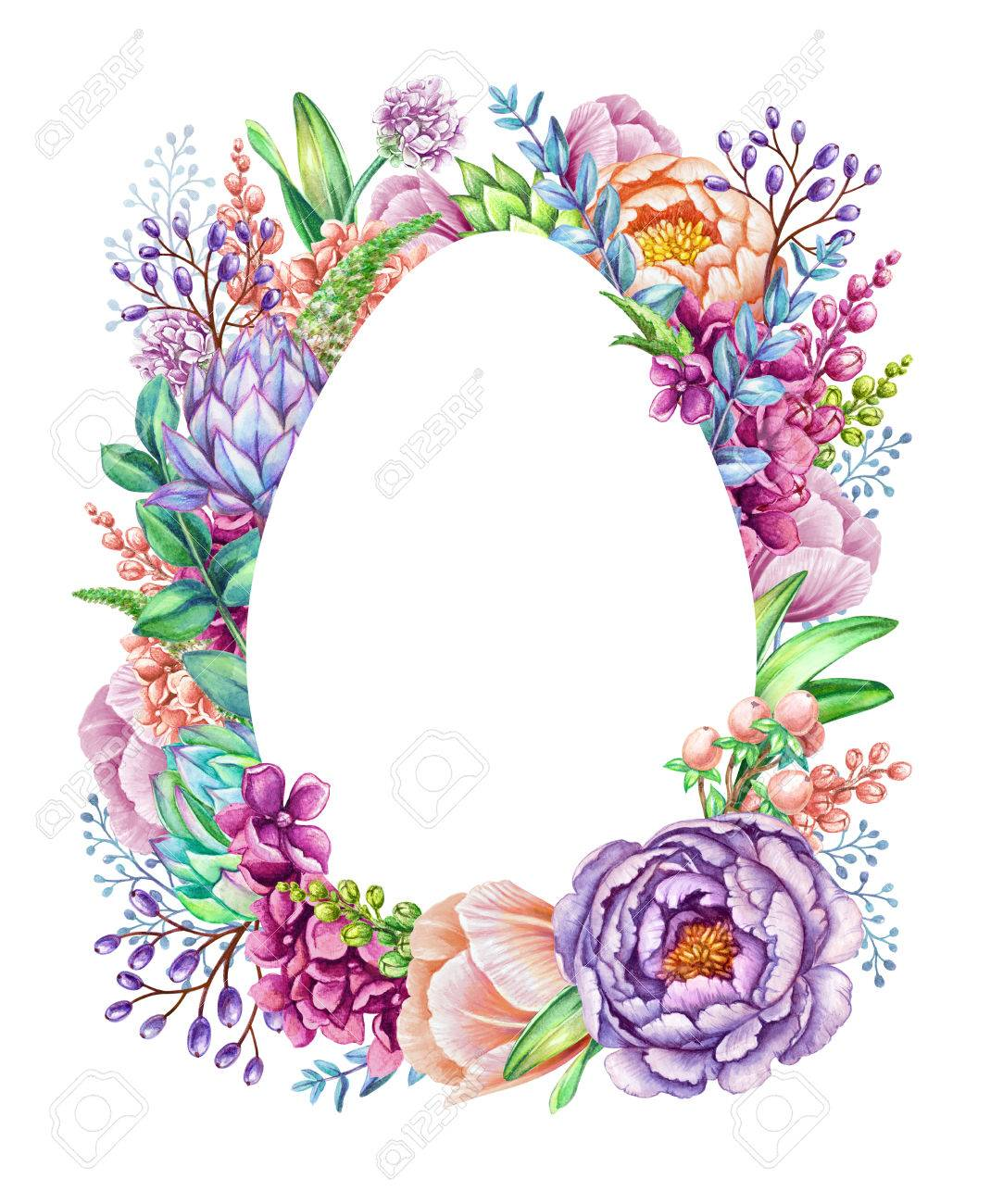 Watercolor Illustration, Floral Background, Wild Flowers, Easter