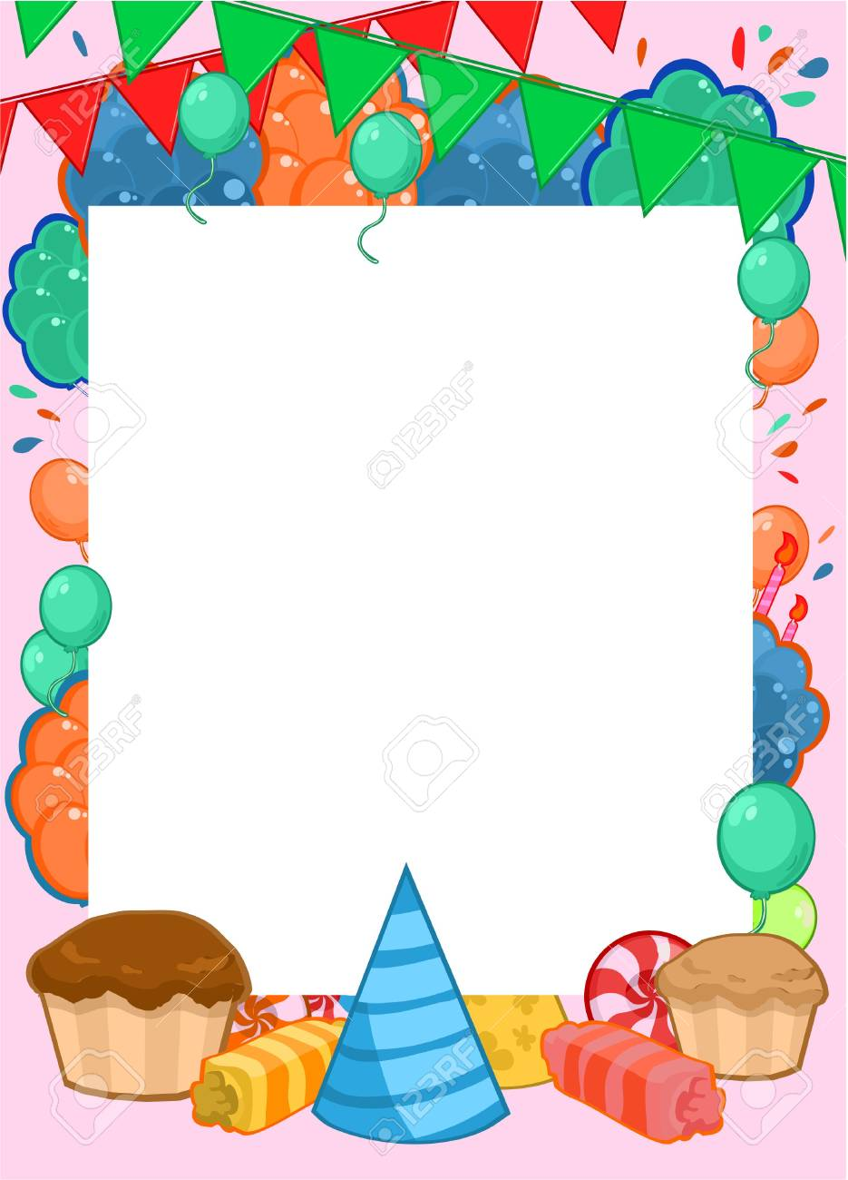 Happy Birthday Invitation Bright Template With Frame For Text