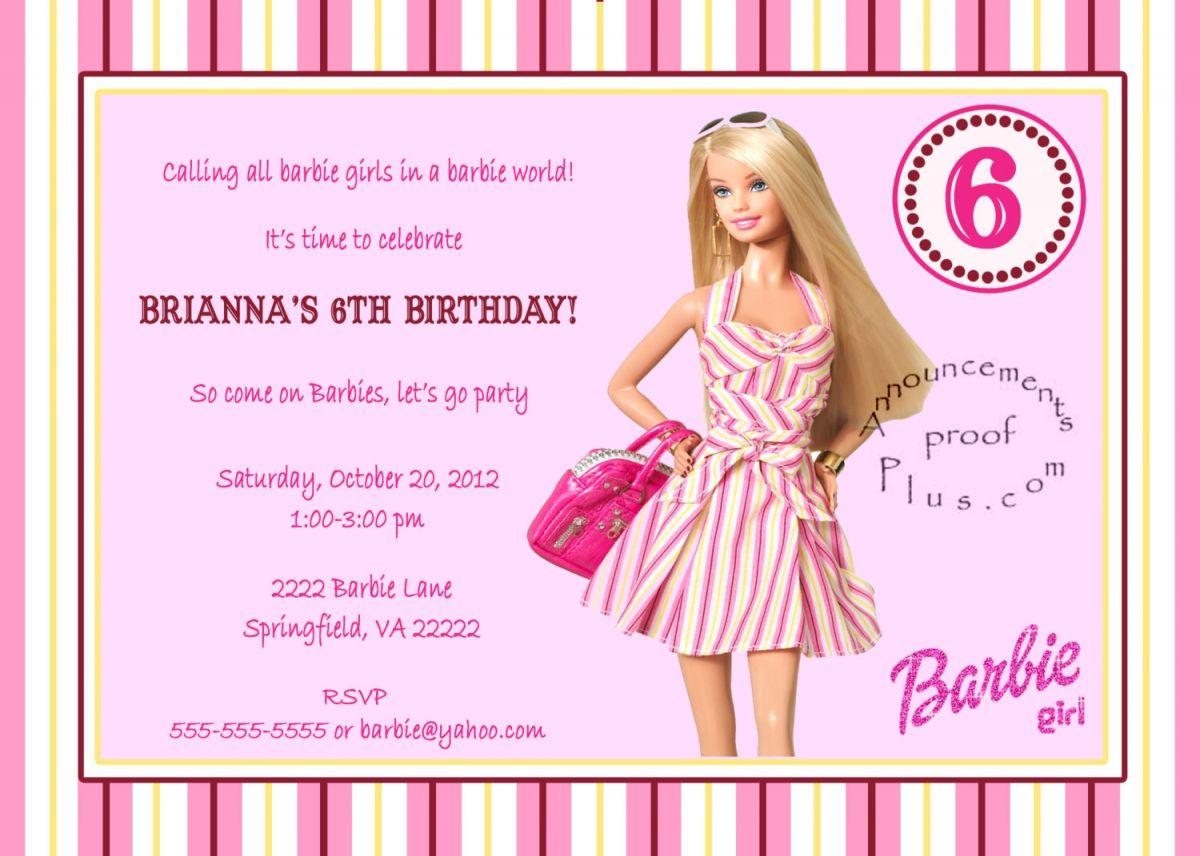 Barbie Birthday Invitation Templates