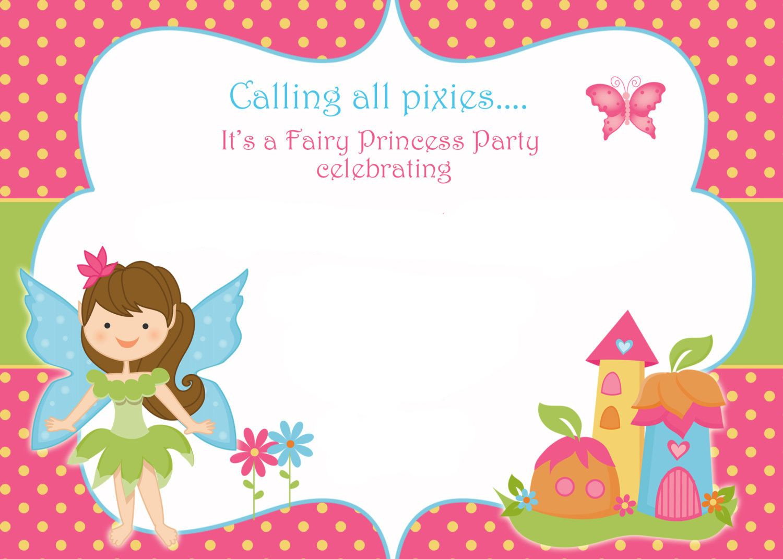 Free Printable Fairy Birthday Invitation Template
